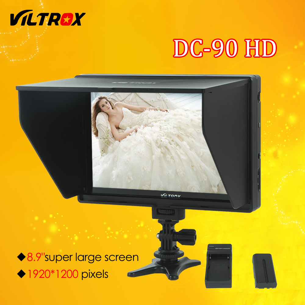 Viltrox DC-90 HD 8.9'' Super Large Screen LCD HDMI AV Camera Video Monitor Display + Battery+ Charger for Canon Nikon DSLR BMPCC aputure digital 7inch lcd field video monitor v screen vs 1 finehd field monitor accepts hdmi av for dslr