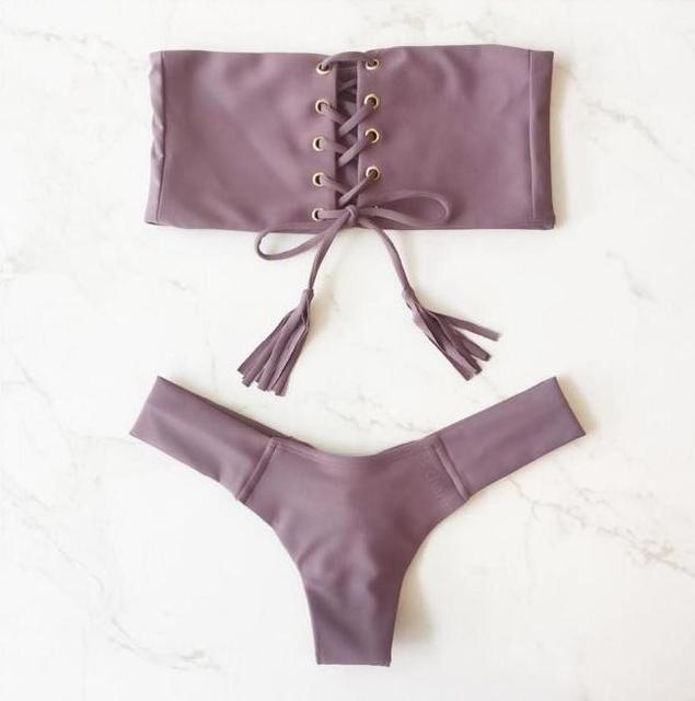 Chest Bandage Gold Buckle Bikini Brazilian 2018 Biquini Bathing Suit Swim maillot de bain Beach Wear Swimwear Women Swimsuit