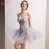 2018 Cocktail Dresses Sexy Illusion Embroidery Tulle Party Dress Homecoming Dress robe cocktail DQG421