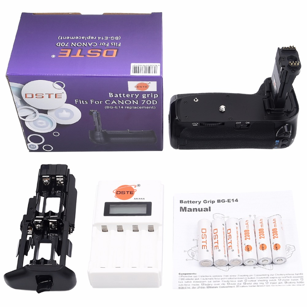 DSTE BG-E14 Battery Grip + Charger + 6x Rechargeable Batteries NI-MH AA Battery for Canon 70D 80D DSLR Camera gp gpkb02gw2a 2 x aa aaa battery charger w 2 x aa rechargeable 1300mah batteries white
