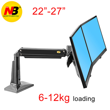 "Northbayou F27 10""-27 inch full motion air press gas spring daul lcd monitor stand desktop tv bracket  360 rotate 6-12kg"