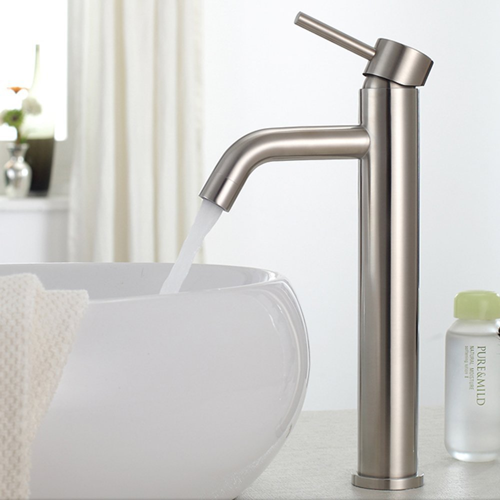 Bathroom faucets for bowl sinks - Kes L3150b Bathroom Vessel Sink Faucet Tall Sus304 Stainless Steel Lead Free Brushed Finish