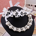 Свадебные украшения Наборы оптовая диадемы свадебные аксессуары жемчужное ожерелье серьги свадебные ювелирные изделия перлы костюмы