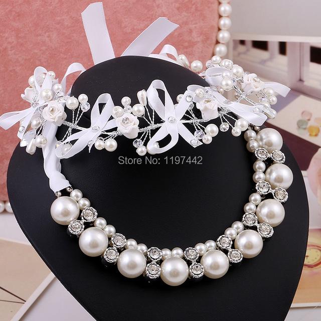 Sistemas de la joyería nupcial al por mayor tiaras de novia accesorios collar de perlas pendientes de perlas joyas de boda trajes