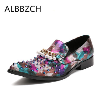 New mens fashion tassel rivets design pointed toe slip on printing leather casual shoes men loafers leisure party shoes szie 46