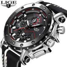 Nuevos relojes LIGE para hombre, de lujo, de marca superior, Esfera Grande, reloj de cuarzo deportivo militar para hombre, reloj de moda informal de cuero resistente al agua para hombre