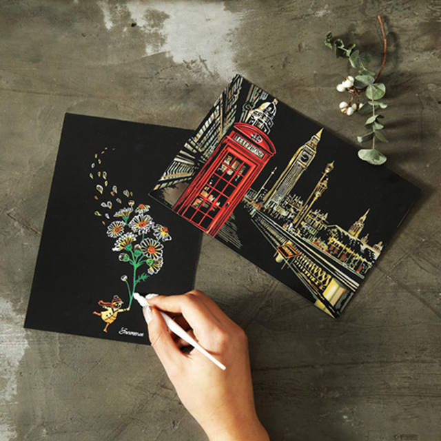 Raspadinhas DIY Cartão Postal Casa Ano Novo Festivo Fontes Do Partido Presente de Natal Feito À Mão Cartões Convites Cartão Do Desejo do Aniversário Dos Miúdos
