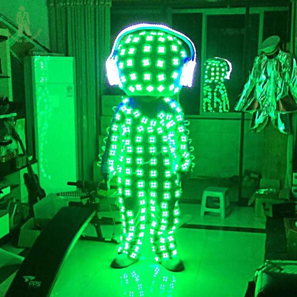 LED 라이트 업 로봇 LED 발광 의상 조명 정장 나이트 클럽 LED 의상 볼룸 헤드폰 코스프레
