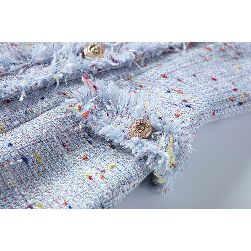 Métal Nouvelle Robe Tweed Femmes Designer Qualité Mode 2018 Supérieure De Gland Baroque Boutons Breasted Double Pour YxnTx1H