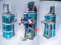 7114 511Pcs Marvel Super Hero Iron Man Attack On Avenger Tower Model Building Minifigure Block Brick