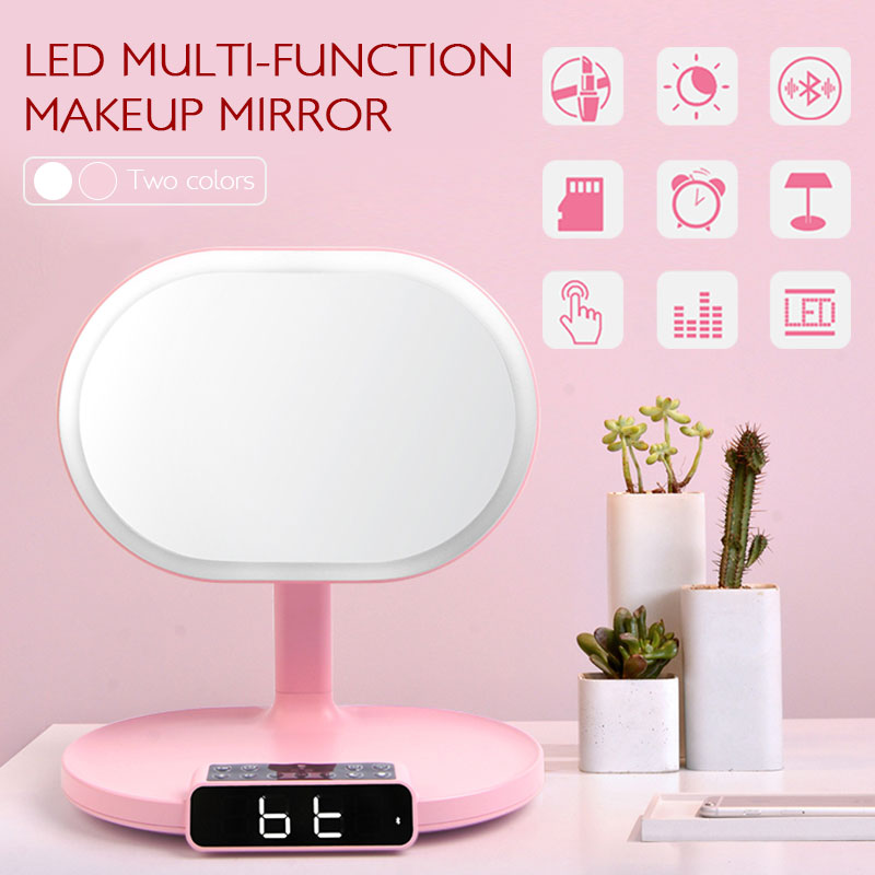 Touch Button Table Lamp Exquisite LED Light Bluetooth Speaker Alarm for Make Up Home Music for Desk Bedroom Cosmetic Mirror