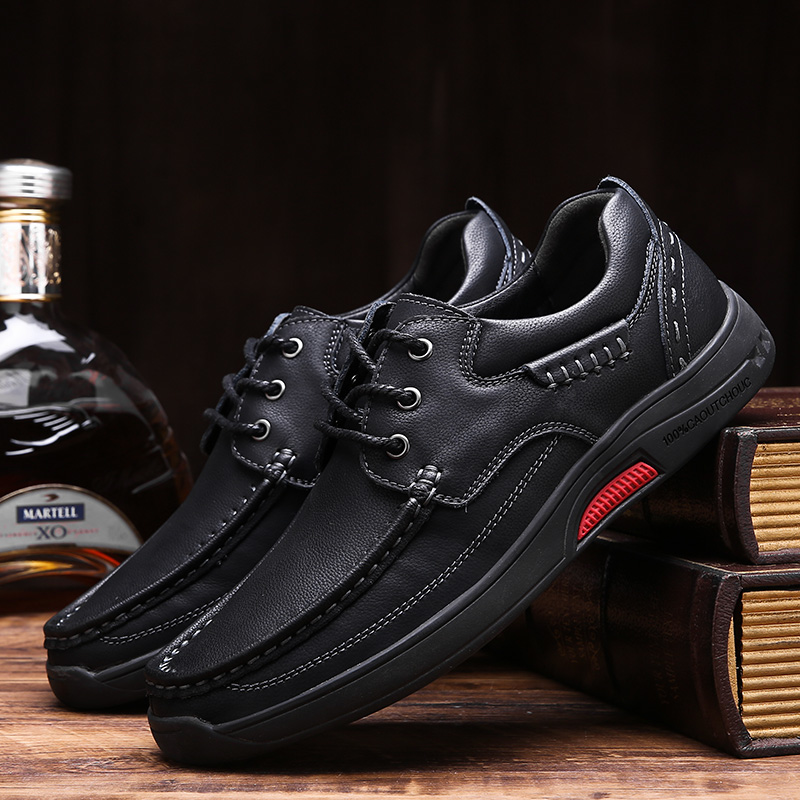 Men Genuine Leather Shoes casual Men Lace Up New Fashion outdoor Sneakers Rubber Sole Non-slip Leather Flats shoes for men k4 business men tie shallow mouth brown leather casual rivet shoes men s shoes round youth non slip rubber sole