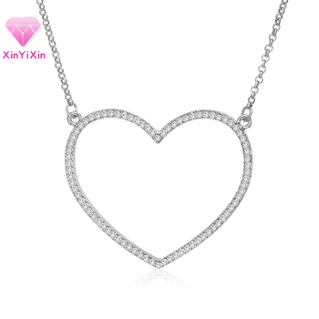Simple Trendy Big Heart Pendant Necklace Fashion Women Gold Silver Lovely Valentine Gift Statement Necklaces Crystal Jewelry