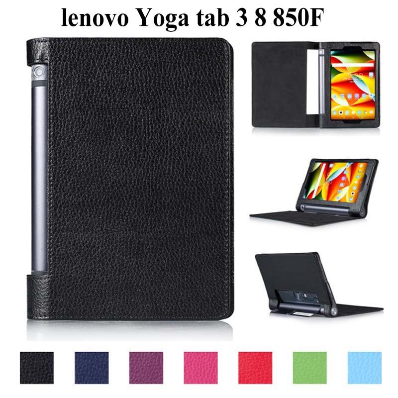 Galleria fotografica Slim Litchi Folio PU Leather for 2015 lenovo Yoga tab 3 8 8.0 inch stand cover for Yoga tab 3 8 850F case+film+pen