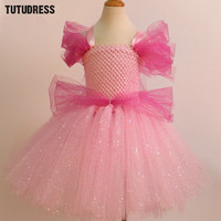 Pink Sleeping Beauty Princess Aurora Dress Girl Cosplay Dress Up Halloween Costumes For Kids Girls Tulle
