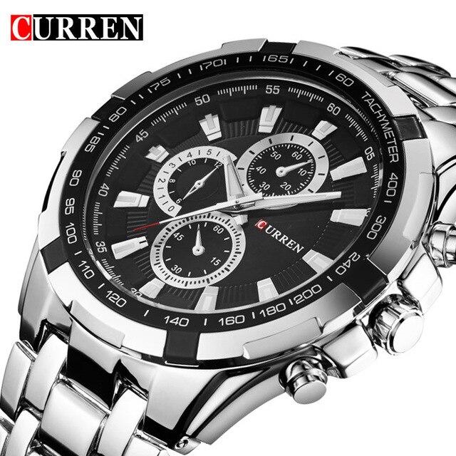 Relojes de cuarzo CURREN para hombre, relojes de pulsera militares de lujo de marca superior, reloj deportivo de acero completo para hombre, resistente al agua, Masculino