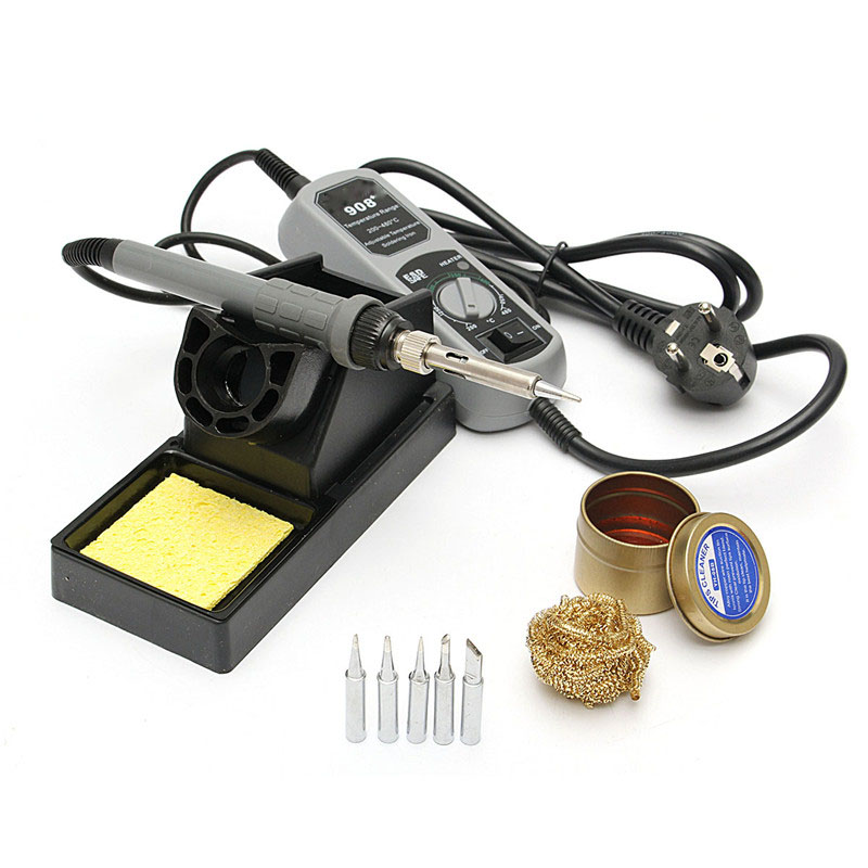 908+ 220V 60W Electric Iron Soldering Station For Welding Rework Kits Adjustable Portable Solder Stations aoyue 469 esd adjustable portable mini soldering station electric soldering iron 220v 60w