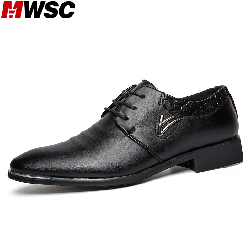 ФОТО MWSC Men's Fashion Winter Casual Leather Shoes Formal Business Dress Shoes Man British Pointed Toe Shoes