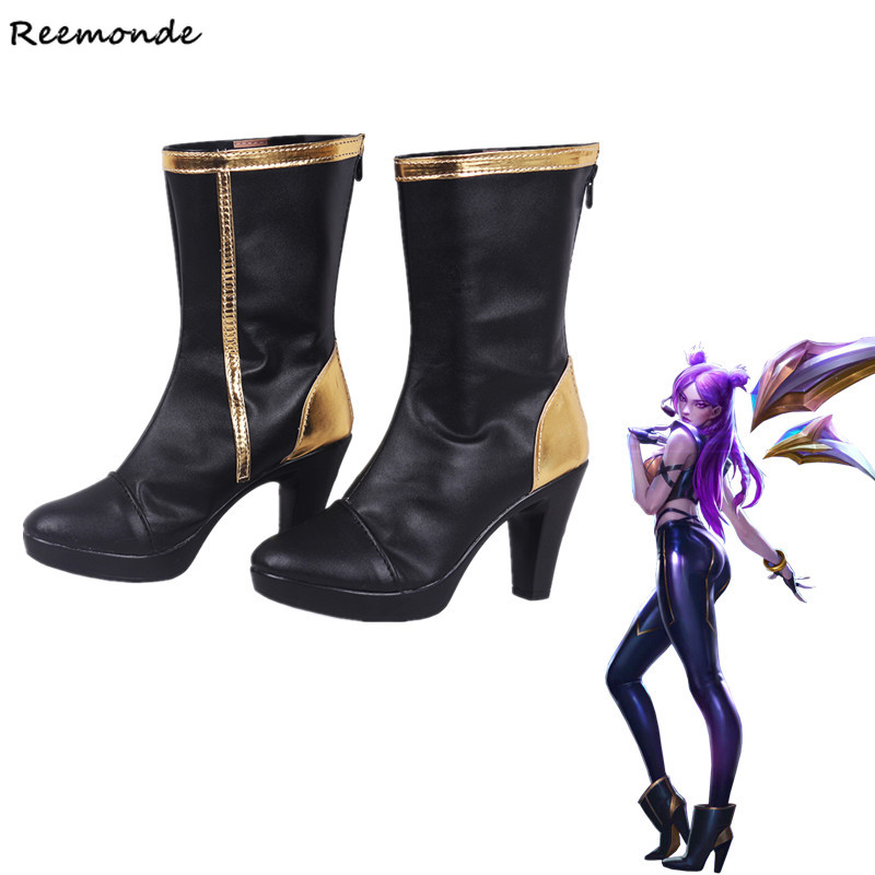 Game LOL KDA KAISA Cosplay Leather Shoes High Heels K/DA Kaisa Cosplay Purple High-Heeled Shoes For Women Ladies Girls Shoes