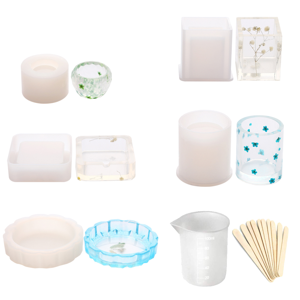 6Pcs Art Epoxy Resin Silicone Molds with 10pcs Wood Sticks for Jewelry Holder Casting Coaster Ashtray Flower Pot Pen Candle Soap