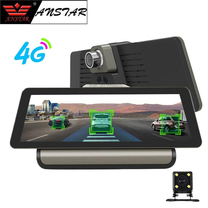 ANSTAR 4g Wifi 10 ''Voiture DVR Caméra Android 5.1 GPS Navigation ADAS À Distance Moniteur Double Len Dash Cam avec Vue Arrière Caméra DVR