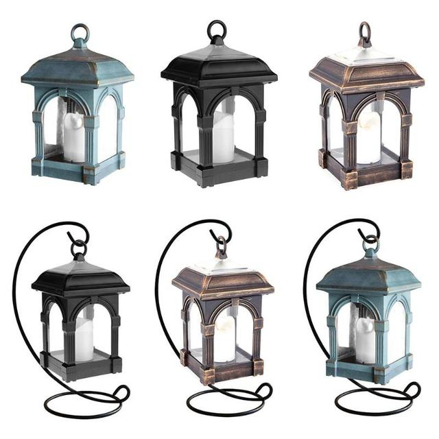 Led Solar Light Outdoor Panel Portable Hanging Candle Lantern Garden Warm