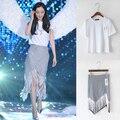 2 unidades de este conjunto falda Top 2015 de la corto manga de la camiseta blanca del ceñidor del trago de la borla de la falda larga mujer dos piezas trajes S36