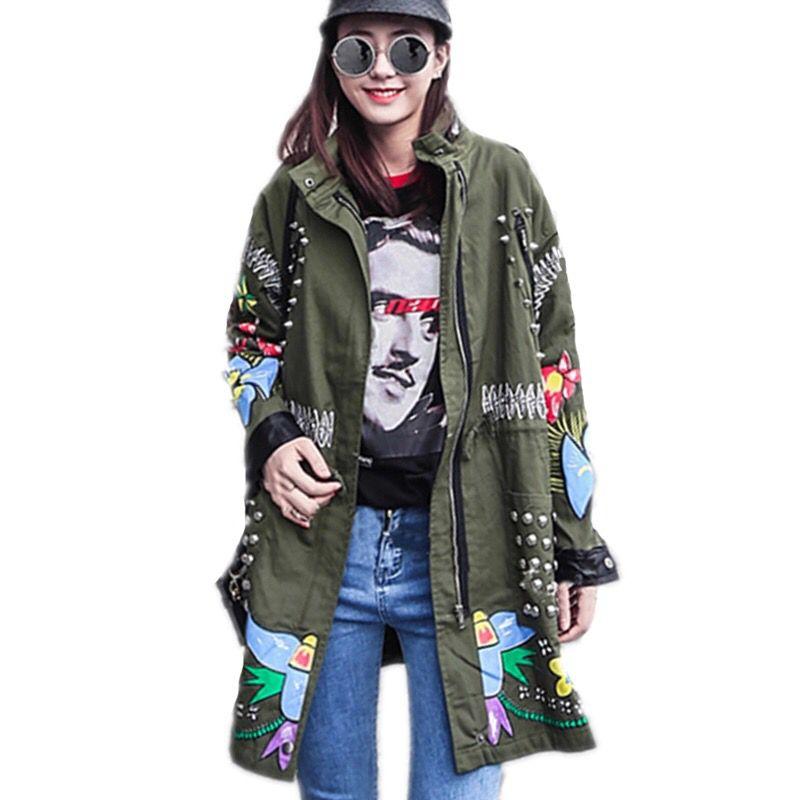 Lady Printemps vert Patchwork vent Éclair Fermeture Femmes 2017 Rivet Coupe Femme Manteau Imprimé Veste Mode Harajuku Poche Tassel Noir gqwUzU