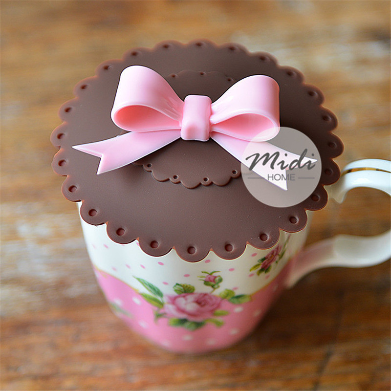 1PC Butterfly Knot Anti-Dust Silicone Lids For Tea Cup Cover Coffee Slicone Suction Seal Cap Gifts