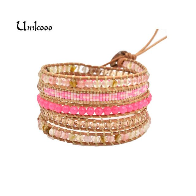 Us 9 7 Fashion Pink Crystal Bead Wrap Bracelet For Women Seed Beads Design Handmade Multilayer Wax Cord Ladys Jewelry In Bracelets