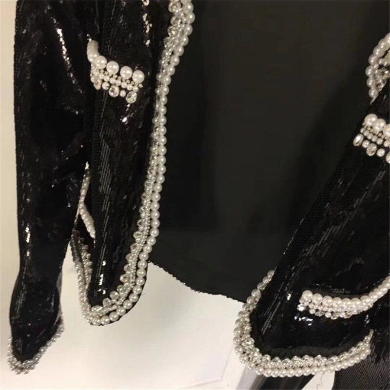Manteau Perle cou Noir Manches Jacket Veste 2018 Élégant Avec Droite Longues O Pour Femmes Diamant Nouvelles À CwO8dw