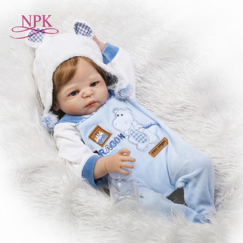 NPK 23 zoll Weiß haut Baby Puppen Realistische Volle Silikon Vinyl Lebendig Mädchen Reborn Baby Puppe Für Kinder Geschenke bonecas reborn