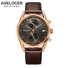 Agelocer Designer Watch Male Real Leather Watch Strap Black Dial Quartz Movement Wristwatches Analog Clock Auto Datemontre homme