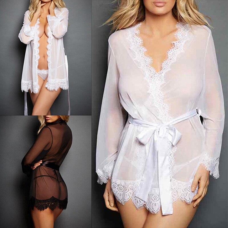 Women Sexy Nightwear Female Bathrobes Women Sexy Lace Dressing Babydoll Lace Lingerie Belt Bath Robe Nightwear
