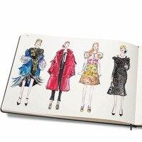 미니 패션 사전과 간신히 보이는 여성 그림 템플릿과 대형 여성 패션 노트북 빠른 스케치 조준
