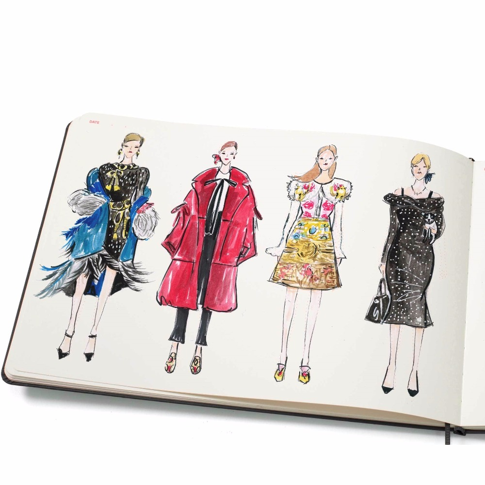 Large Women Fashion Notebook With Mini Fashion Dictionary And Barely Visible Women Figure Templates Aim For Fast Sketching