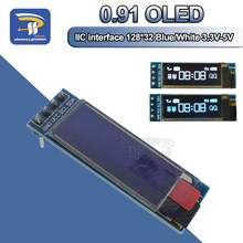 "0.91 inch 12832 wit en blauw kleur 128X32 OLED LCD LED Display Screen Module 0.91 ""IIC Communiceren 3.3 V-5 V Voor Arduino PIC(China)"