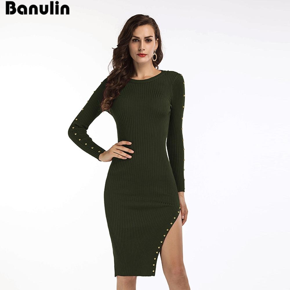 4d154bafdd Banulin Winter Dresses for Women European Style Women Fall Dresses Burgundy  Knitted Long Sleeve High Slit Ribbed Dress-in Dresses from Women s Clothing  on ...