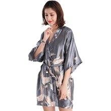 e83a0709ad Gray Vintage Floral Female Rayon Kimono Robe Chinese Style Women s  Nightgown Bath Gown Sleepwear Sexy Mini