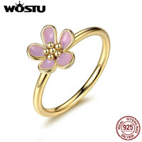 Real 100 925 Sterling Silver Gold Plated Cherry Blossom Stackable Rings Compatible With Original Pan Ring