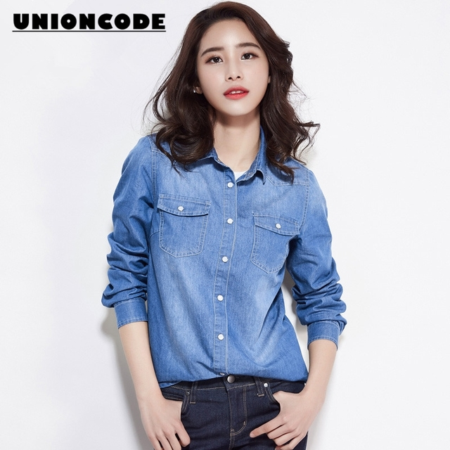 29f9a49a94 Solid Denim Shirts Woman 2017 Slim Camisa Jeans Classic Style Top Blouses  Women Long Sleeve No Stretchy Shirt Full Size S-XXXL