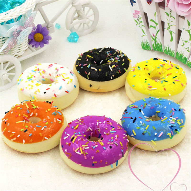 Free shipping 3D Fake food Donuts 5pcs/lot Colorful Soft Vivid Smell Figures toys car home office decoration party favor gifts