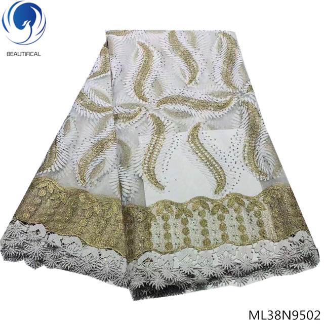 BEAUTIFICAL white african mesh lace fabric green african tulle lace fabric african embroidered tulle lace fabric 2019 ML38N95