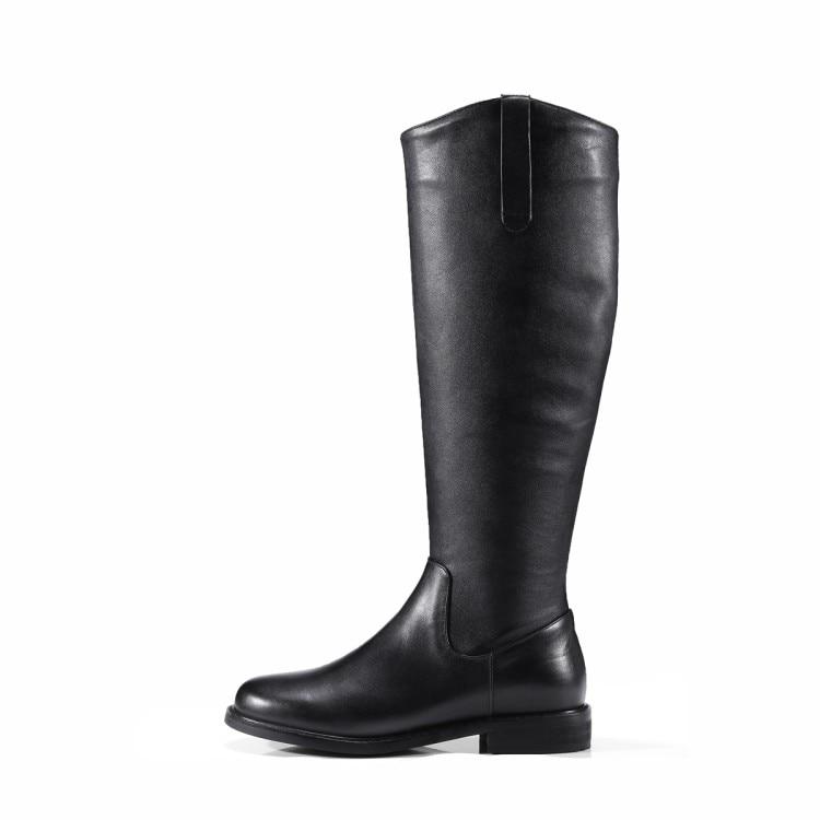 Sur De Slip Haute Femme Vache Talon Du Black Noir À Parti Couleur Robe 2018 Hauteur Bottes Femmes Faible Cuir Mljuese Genou En Moto Fz6wOA