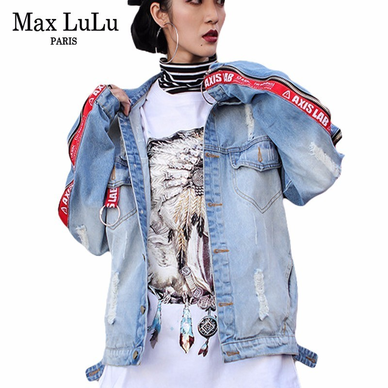 Max LuLu New 2018 Spring Korean Zipper Designer Womens Denim Jacket Loose Cotton Female Jeans Coat Chaquetas Mujer Girls Clothes the new spring and summer 2016 korean fashion jeans female hole loose jeans page 6