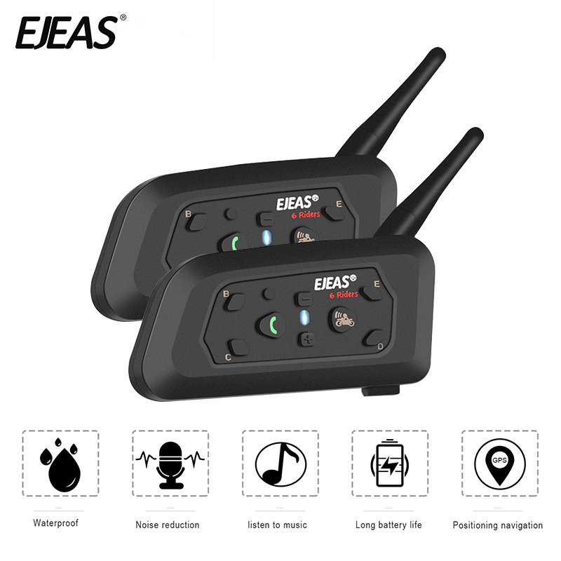 EJEAS 2PCE V6 Moto Interphone Bluetooth Moto Casque Casque Communicateur Étanche 1200 m Interphone Pour 6 Coureurs Casco Moto