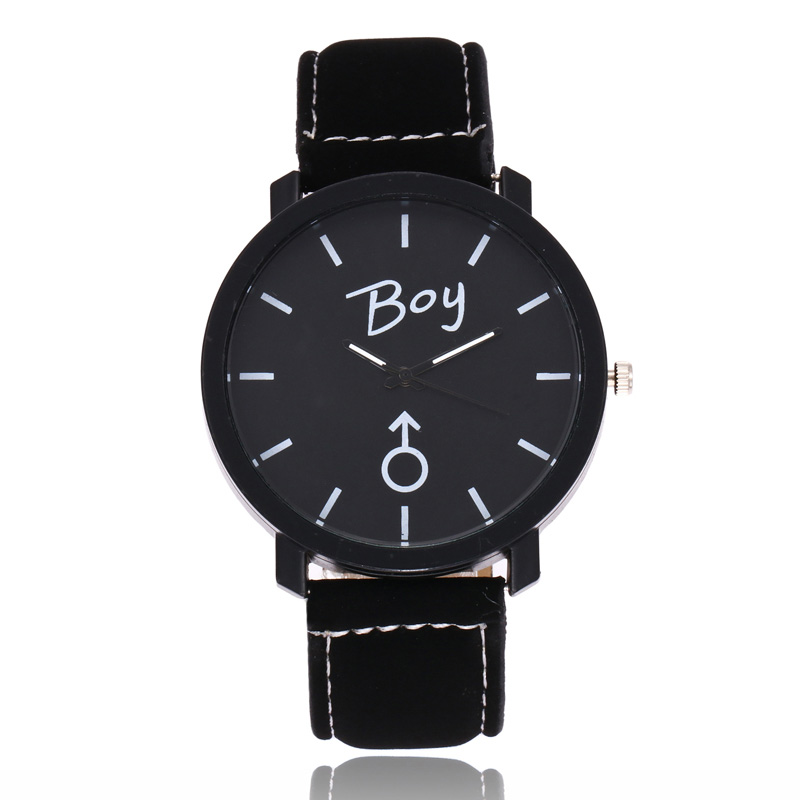 Simple Round Dial Quartz Watch PU Leather Strap Wristwatch For Girls Boys Couple Gifts LL@17