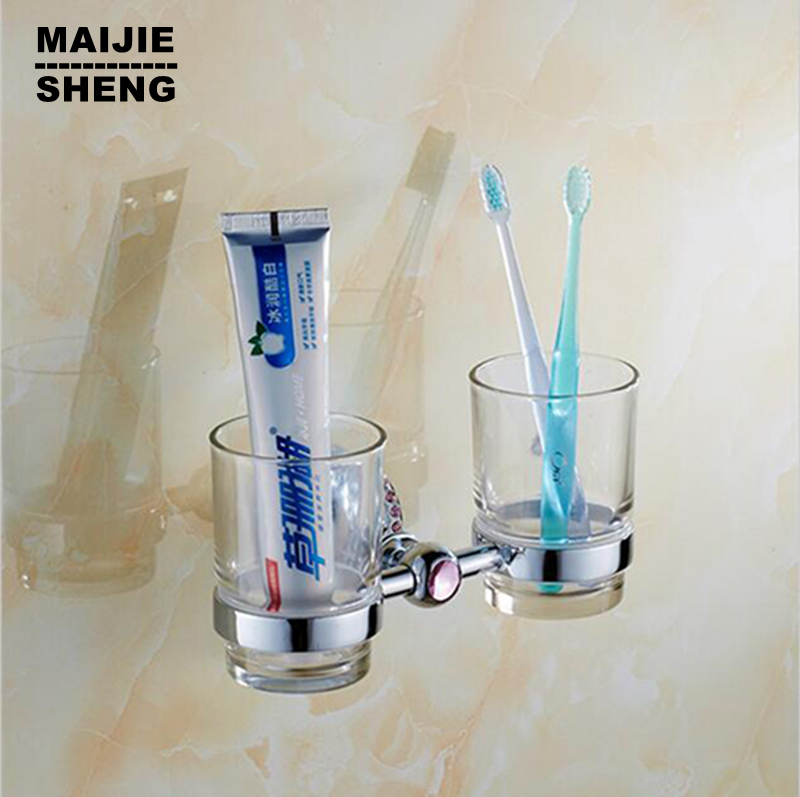Home decoration bathroom double cup toothbrush holder chrome crystal style copper tumbler&cup holder wall mount bath product