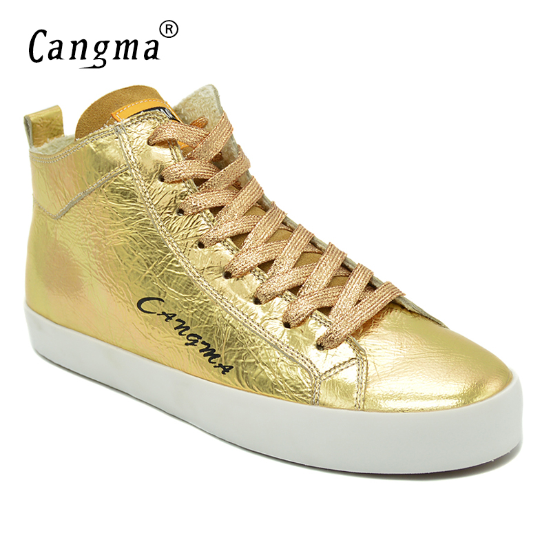 CANGMA Famous 2017 Women's Shoes Handmade Platform Sneakers Gold Flats Patent Genuine Leather Shoes Mid Female Lace Up Footwear women platform flats shoes patent leather sneakers lace up female mesh footwear shoes for women sports
