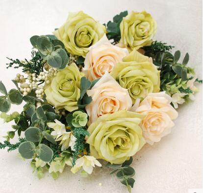 Umělecké plátno růže Umělé květiny Květina 49cm délka se šesti velkými květy kvalitní hedvábí ručně vyráběná květina